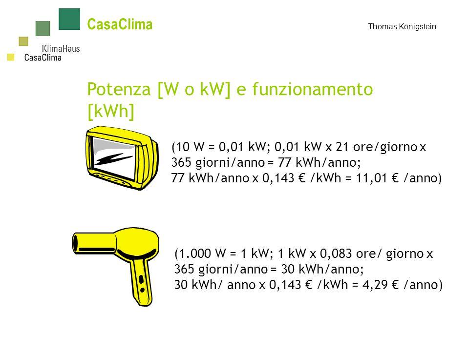 Potenza [W o kW] e funzionamento [kWh]